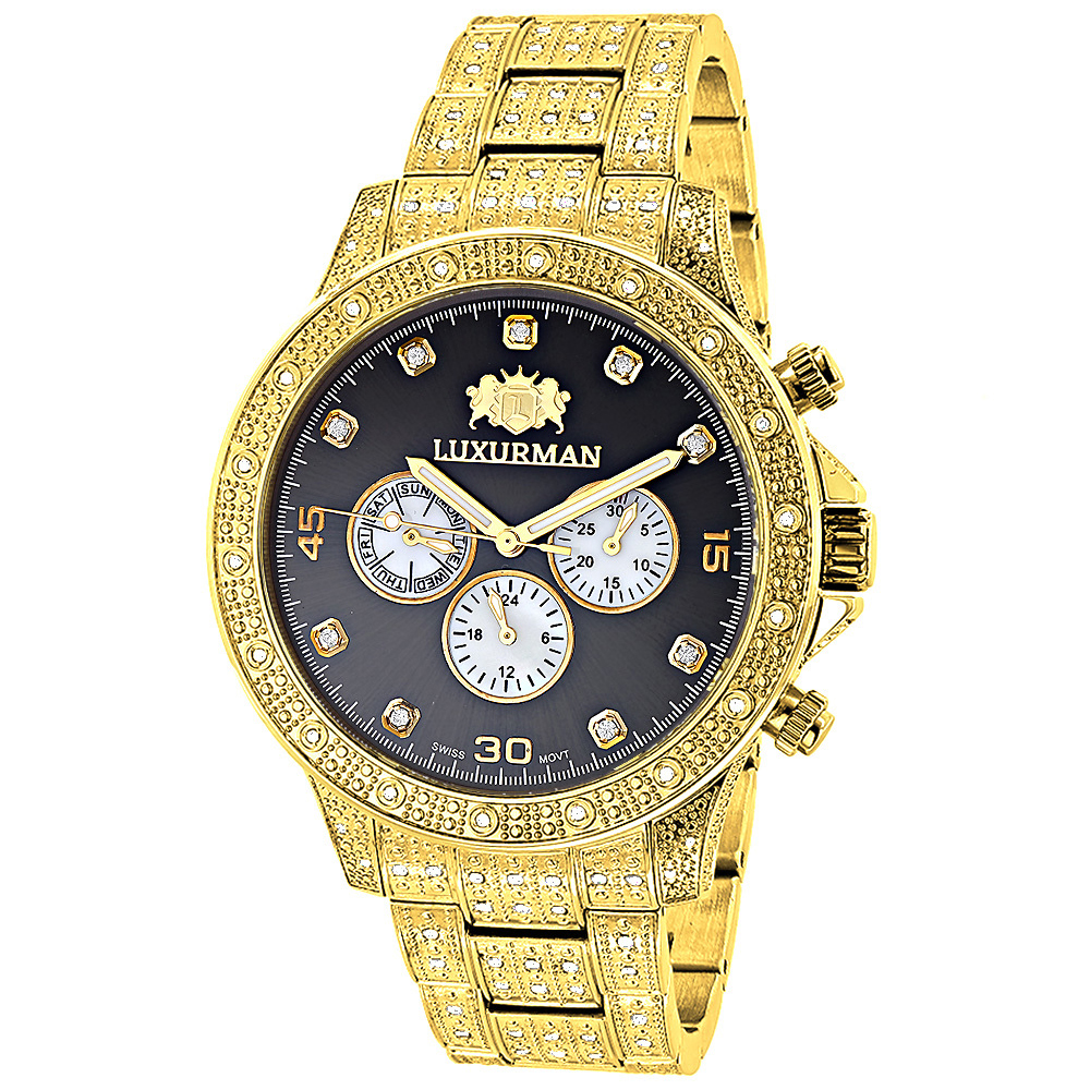 Iced Out Mens Diamond Watch 1.25ct Yellow Gold Plated Luxurman Liberty Main Image