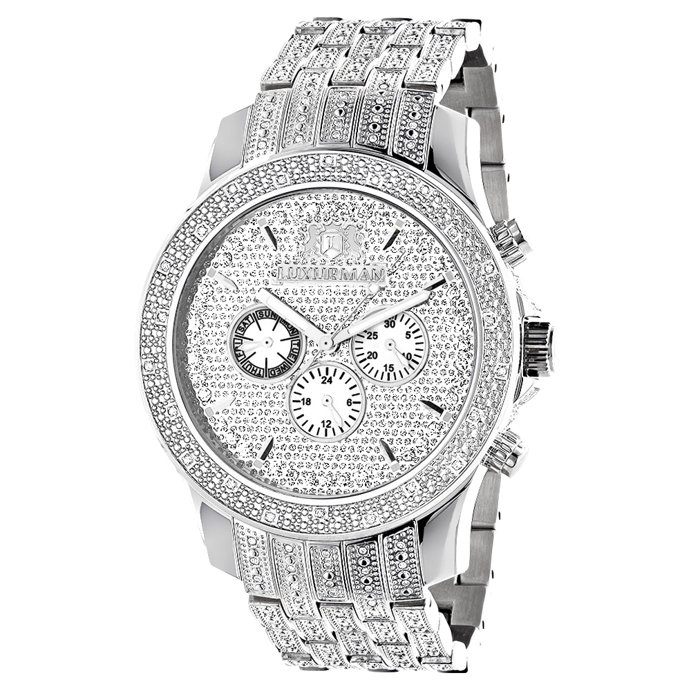iced out mens diamond watch by luxurman 1 carat. Black Bedroom Furniture Sets. Home Design Ideas