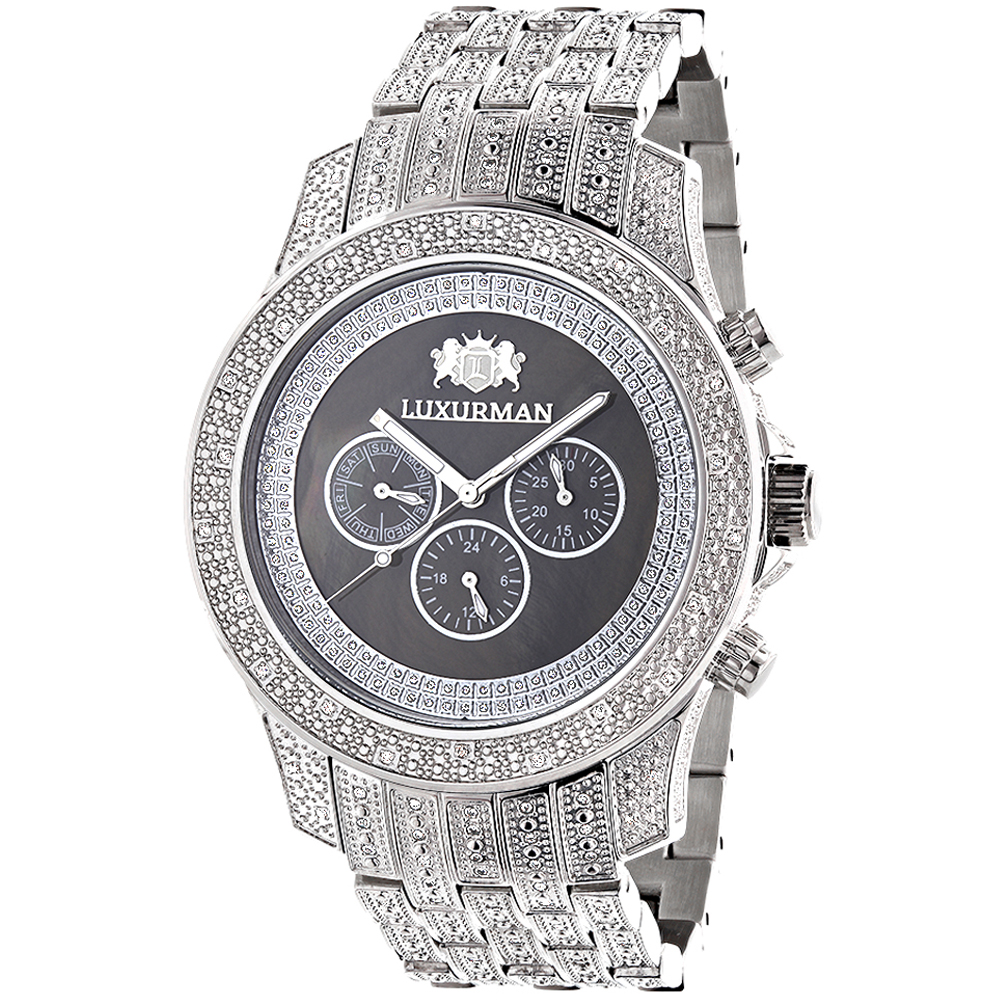 Iced Out Mens Diamond Watch by LUXURMAN 1.25ct Black Main Image