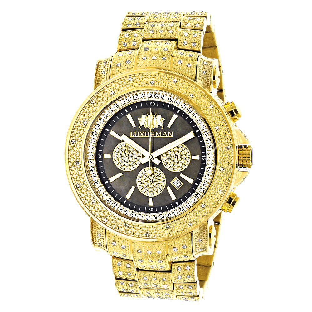 Iced Out Mens Diamond Watch Luxurman 2ct Yellow Gold Plated Main Image