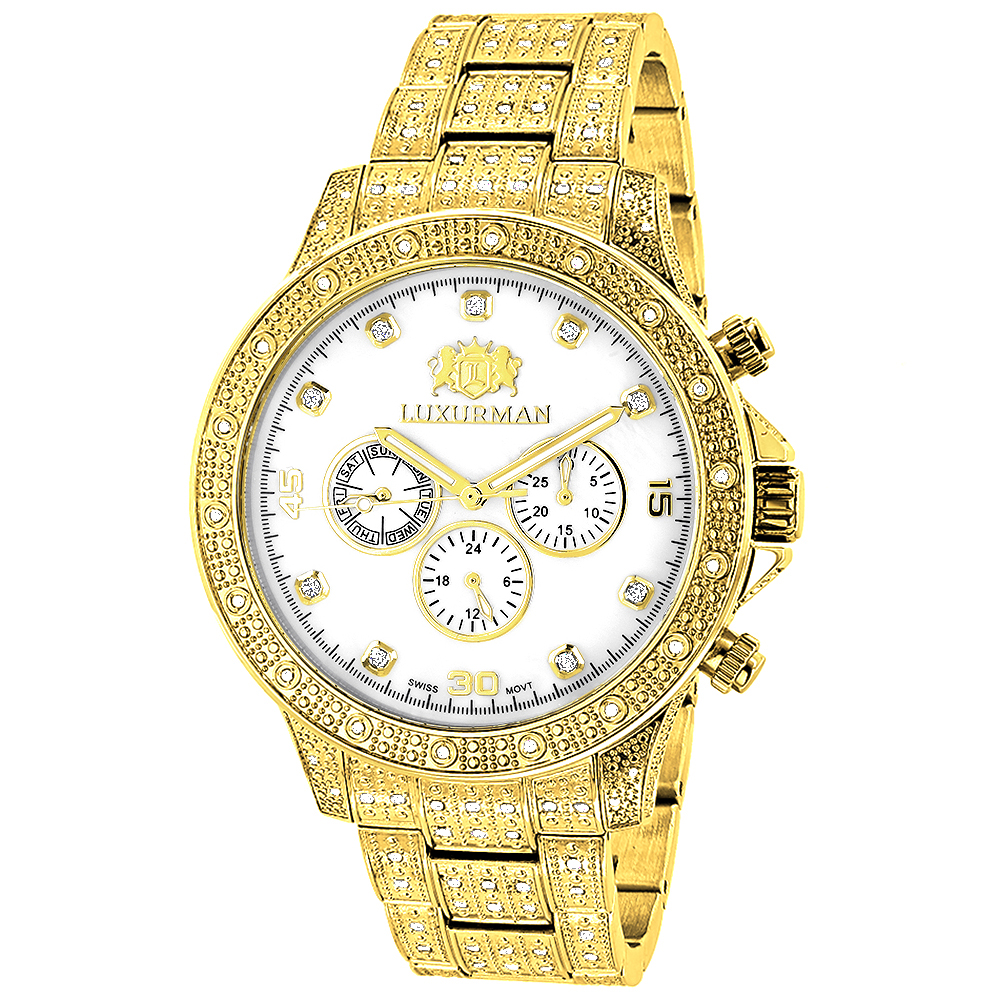 Iced Out Mens Luxurman Watch with Diamond Band 1.25ct Yellow Gold Main Image