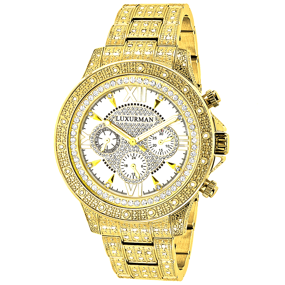 Iced Out Mens Luxurman Watch with Diamond Band 1.25ct Yellow Gold Plated Main Image