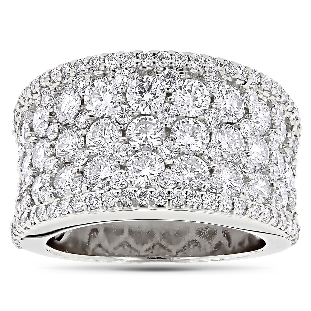 Wide Iced Out Pave Diamond Ring for Women 3.93ct 14K Gold by Luxurman