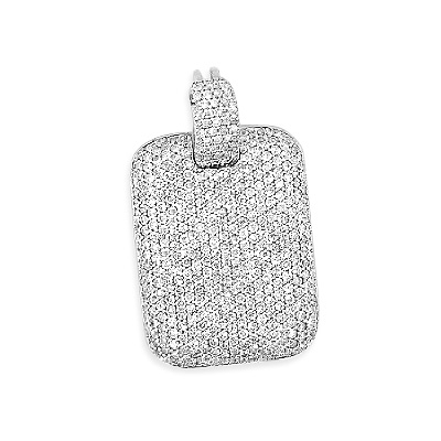 Iced Out Pendants 14K Gold Diamond Dog Tag Pendant 3ct