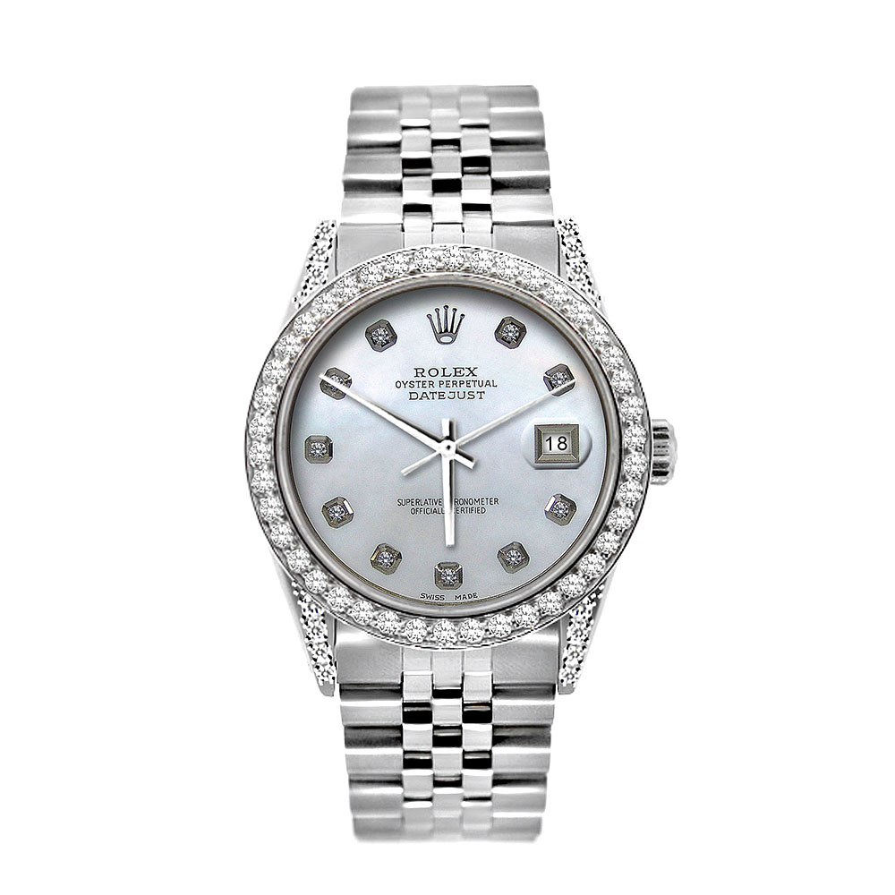 Iced Out  Rolex Watches Oyster Perpetual Datejust Diamond Watch for Men 5ct Main Image