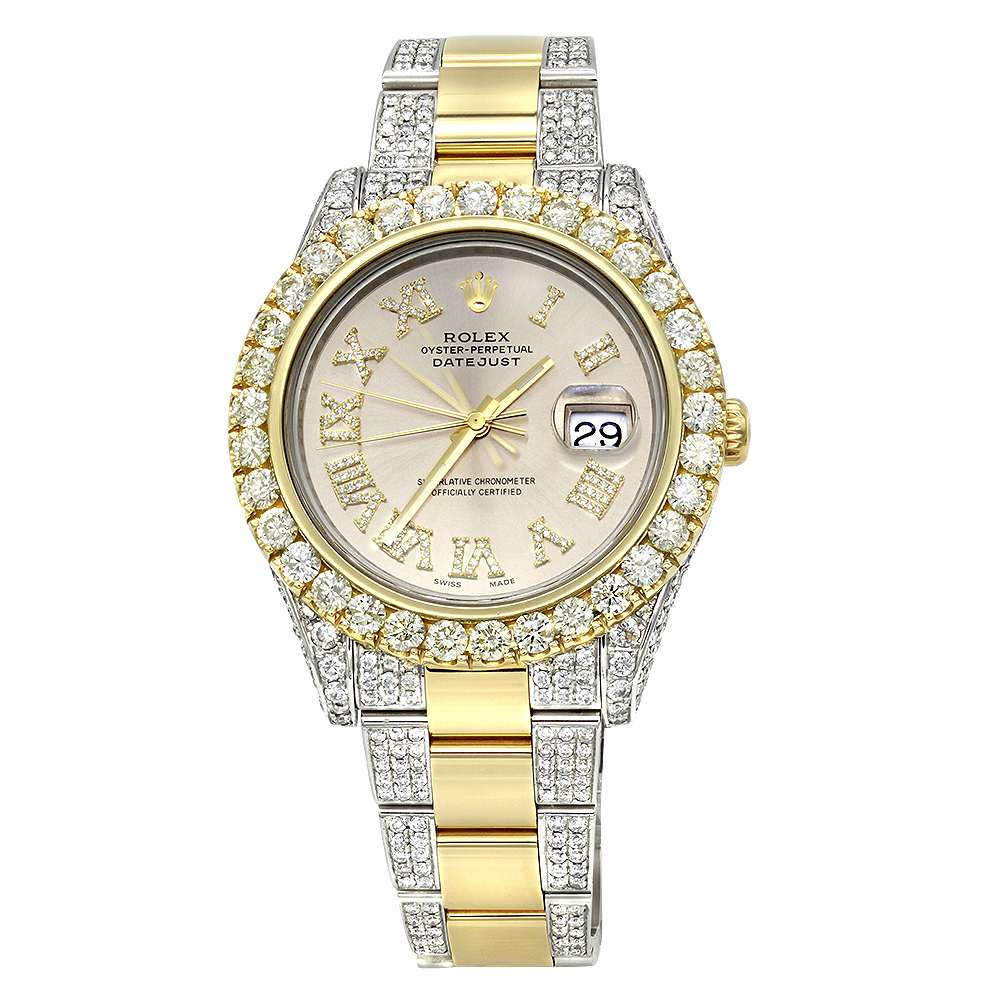 Iced Out Two Tone Rolex Oyster Perpetual Datejust Mens Diamond Watch 15ct  Main Image