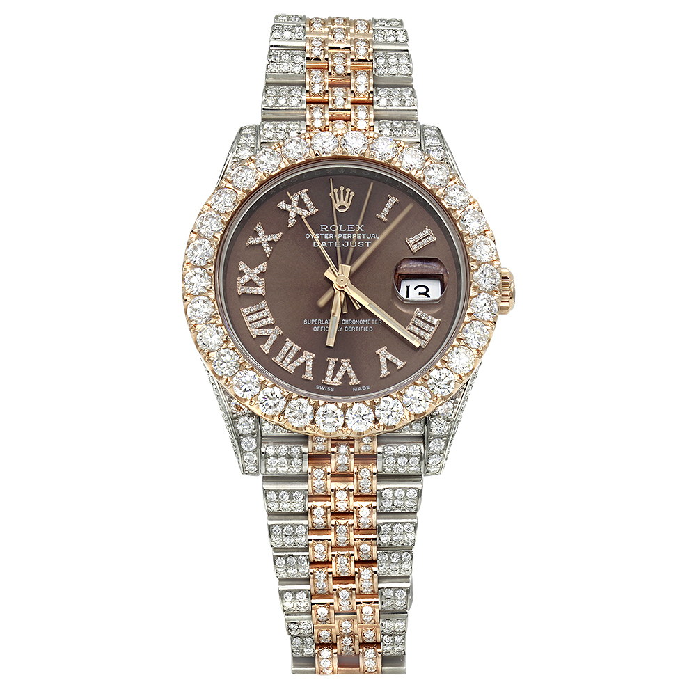 Iced Out Two Tone Rolex Oyster Perpetual Datejust Mens Diamond Watch 21ct  Main Image