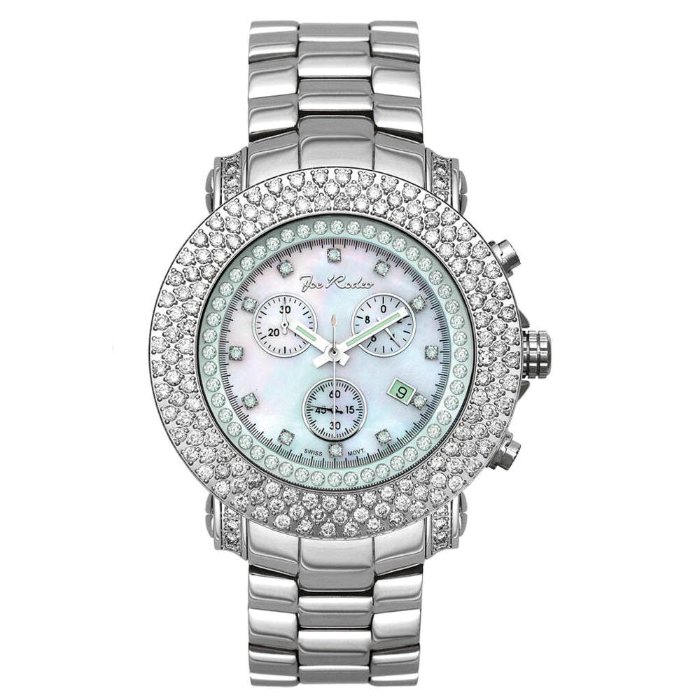 Iced Out Watches Joe Rodeo Diamond Watch 6ct White Mop Main Image