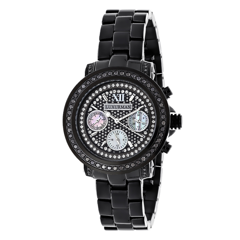 Iced Out Watches: Luxurman Black Diamond Watch for Women 2.15 carats Main Image
