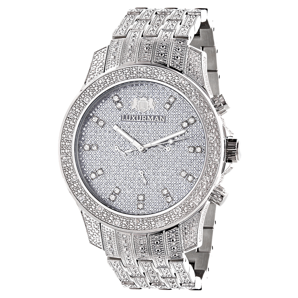 Iced Out Watches: Luxurman Mens Diamond Watch 1.25ct Main Image