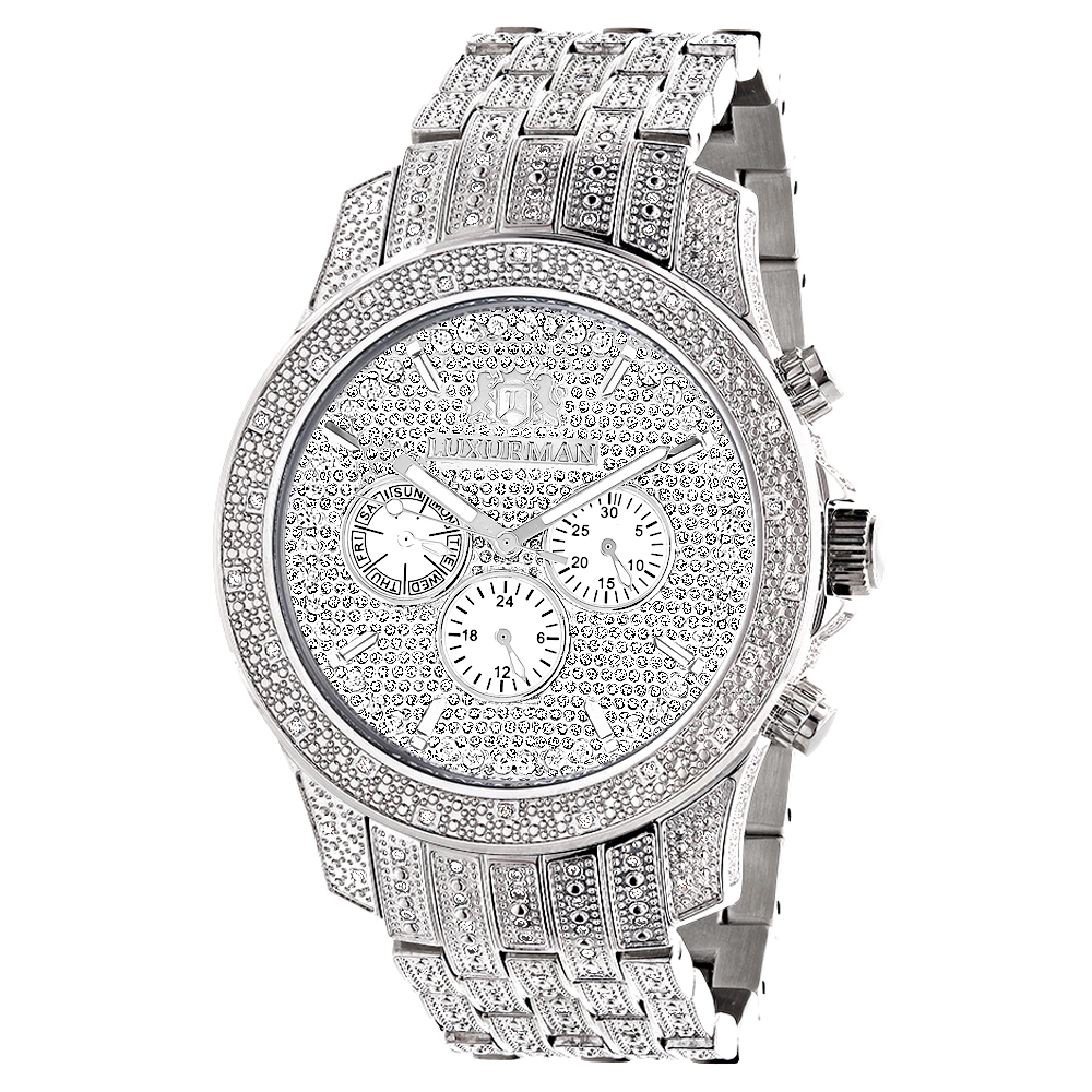 Iced Out Watches Luxurman Mens Diamond Watch 1.25ct Main Image