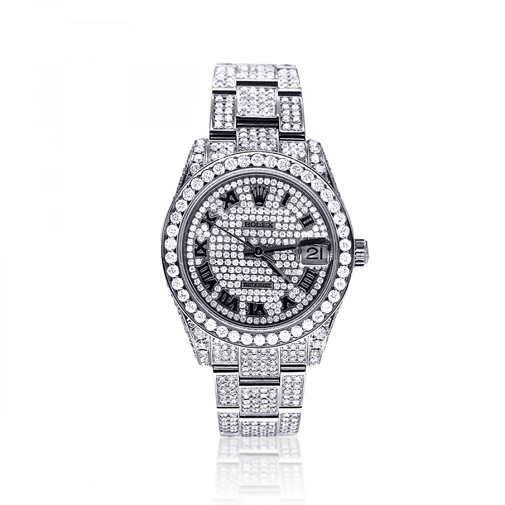 Iced Out Watches: Pre-Owned Ladies Diamond Rolex Datejust Watch 12ct Main Image