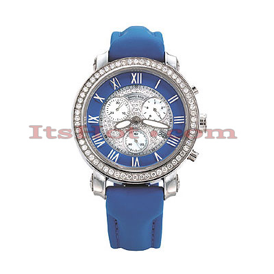 Iced Out Womens Diamond Watch by Benny Co 1.5ct Blue