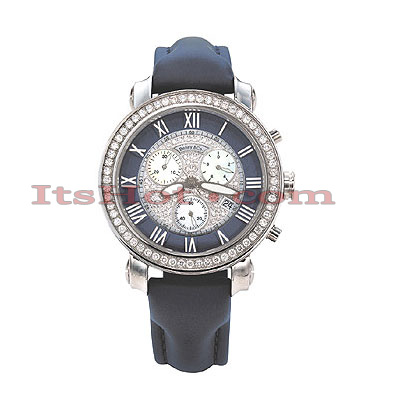 Iced Out Womens Diamond Watch by Benny Co 1.5ct Navy