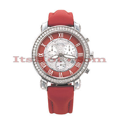 Iced Out Womens Diamond Watch by Benny Co 1.5ct Red