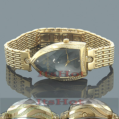 Unique Ladies Diamond Watches: IceTime Yellow Gold Pltd Faceted Glass Watch Main Image
