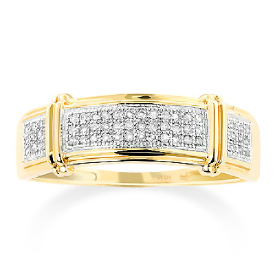 Inexpensive Mens Diamond Wedding Band 0.18ct 10K Gold inexpensive-mens-diamond-wedding-band-018ct-10k-gold_1
