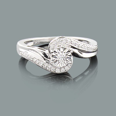 Inexpensive Promise Ring with Diamonds 0.18ct 10K Gold