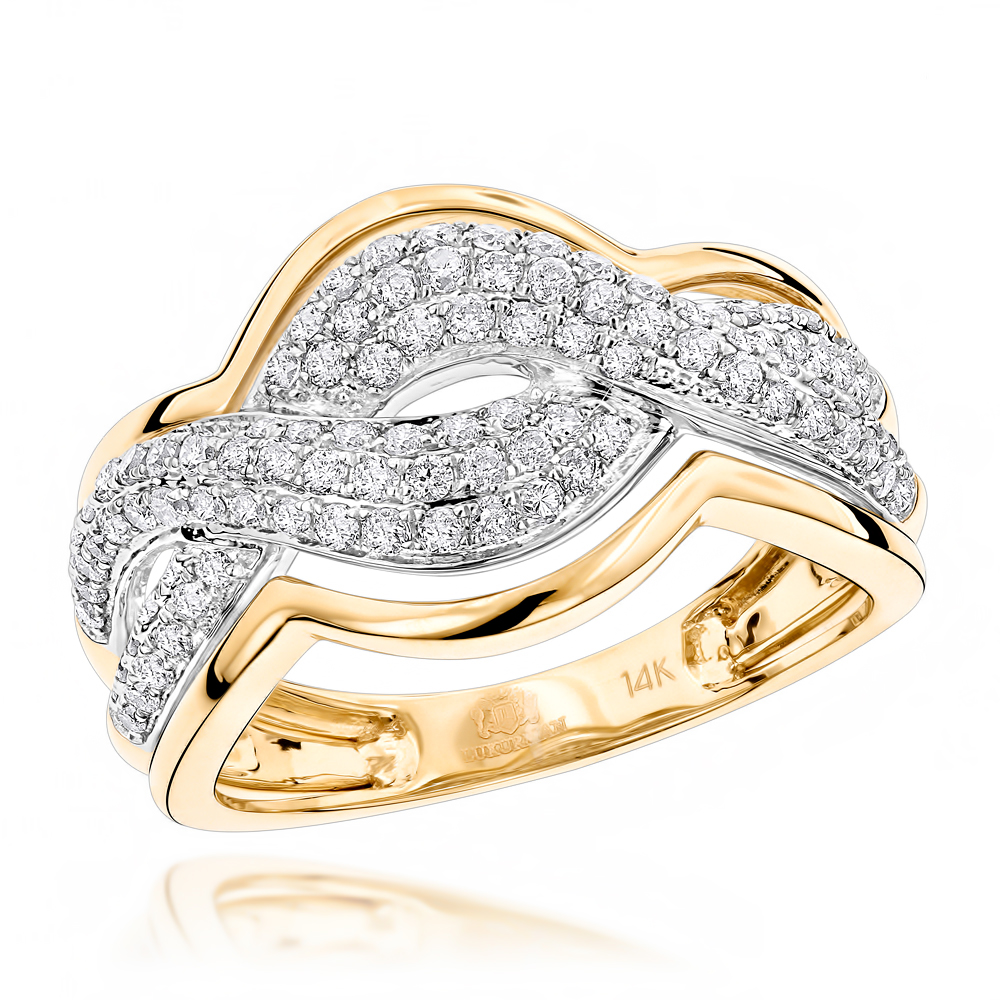 Infinity Love Knot Rings: Luxurman Ladies Cocktail Diamond Ring 14K Gold Yellow Image
