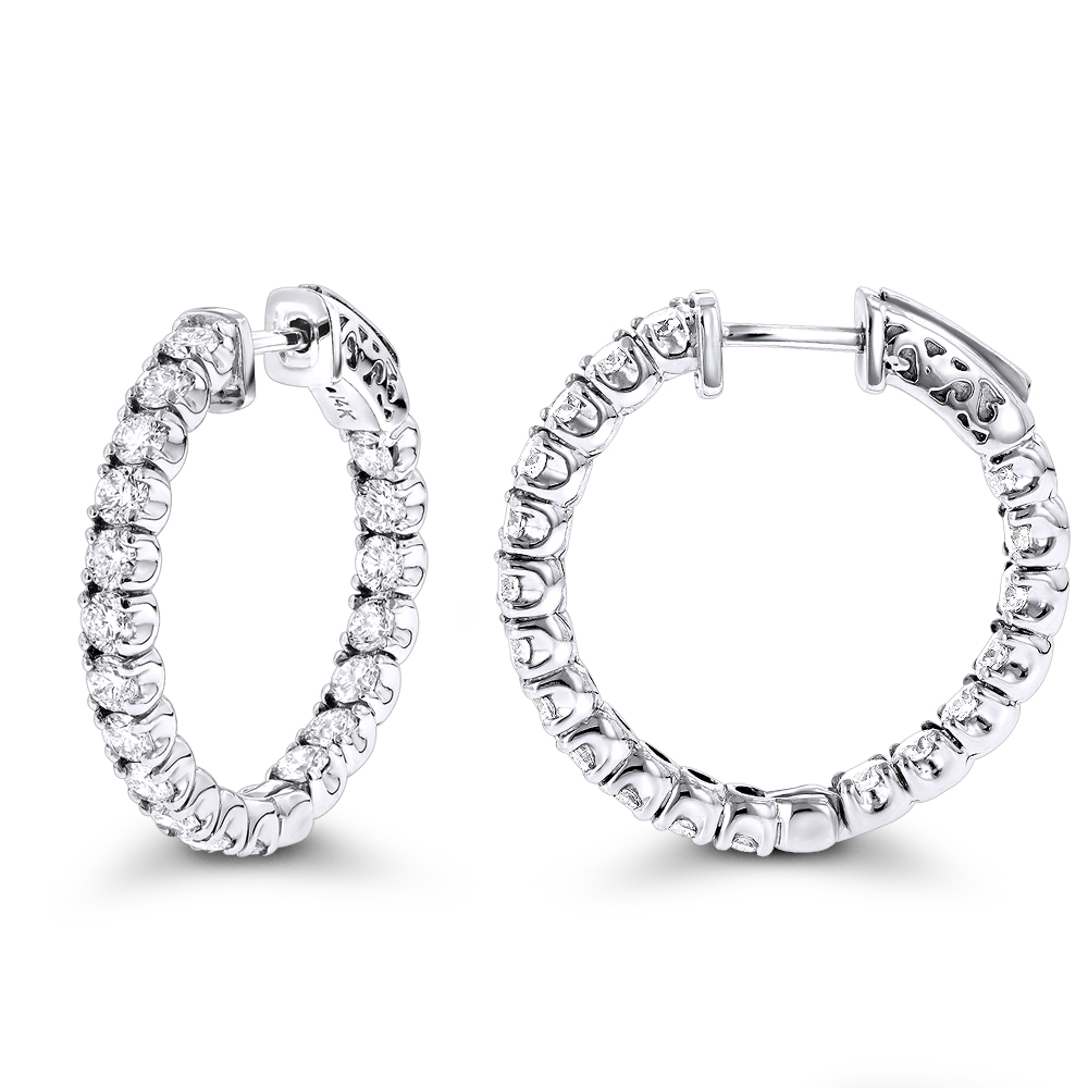 1 inch Inside Out Classic Diamond Hoop Earrings 2.75ct 14K Gold G-H VS-SI