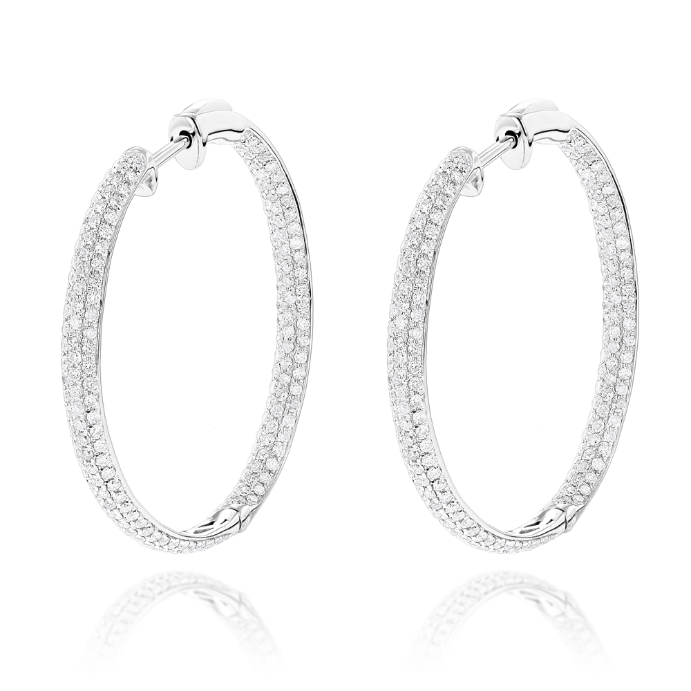 Inside Out Hoop Diamond Earrings 2.38ct 14K Gold White Image