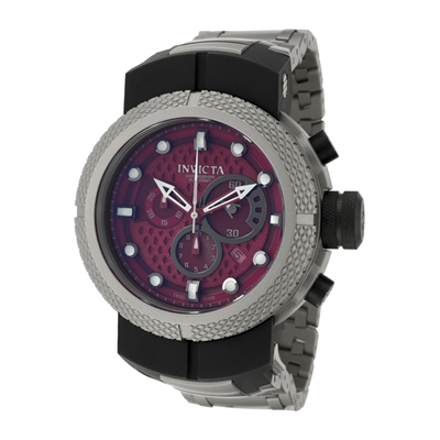 Invicta Watches: Men's Coalition Forces Burgundy Perforated Dial Chronograph Titanium 673
