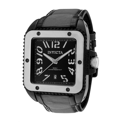 Invicta Watches: Men's Cuadro Black Dial Black Leather & Grey Nylon 1457