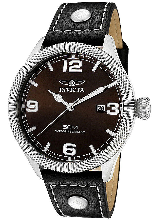 Invicta Watches: Men's Vintage Brown Dial Black Leather 1461 Invicta Watches: Men's Vintage Brown Dial Black Leather 1461
