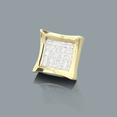Invisible Set Princess Cut Diamond Earring 0.63ct 14K Gold Main Image