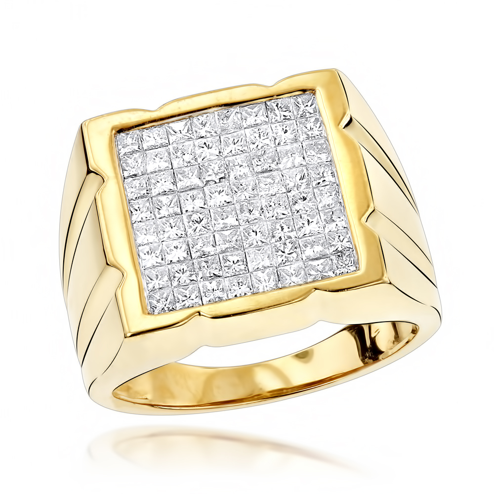 Invisibly Set Princess Cut Diamond Ring for Men 2.33ct 14K Gold