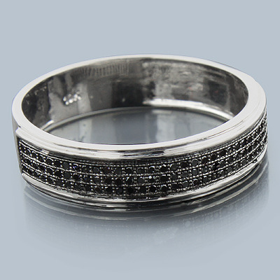 10k gold black diamond wedding band 028ct