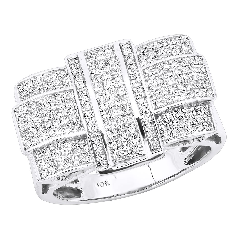10K Gold Princess Round Diamond Criss Cross Ring 0.87ct White Image