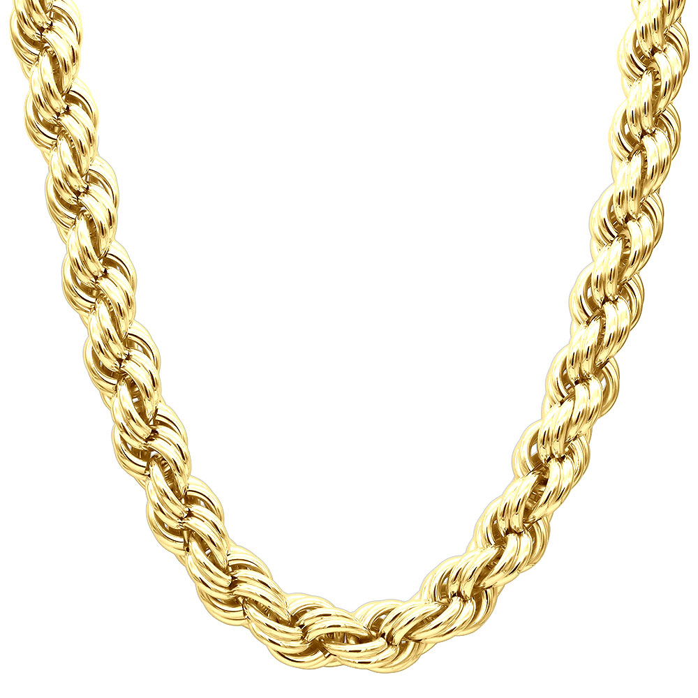 10K Gold Rope Chain Bling Hip Hop Chain 3/4 in thick Yellow Image