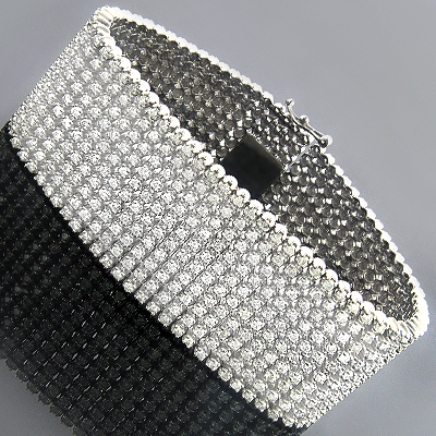 10K Mens Round Prong Diamond Cuff Bracelet 10 Row 22 25