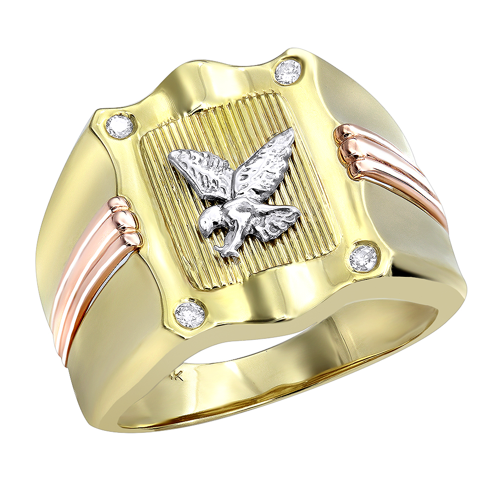 14 Karat Yellow Rose Gold Diamond Mens Eagle Ring .10ct