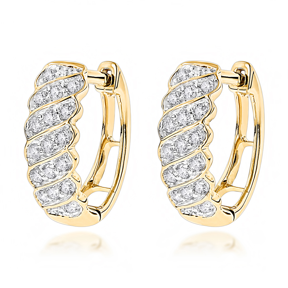 14K Gold Diamond Hoop Huggie Earrings for Women 0.65ct Yellow Image
