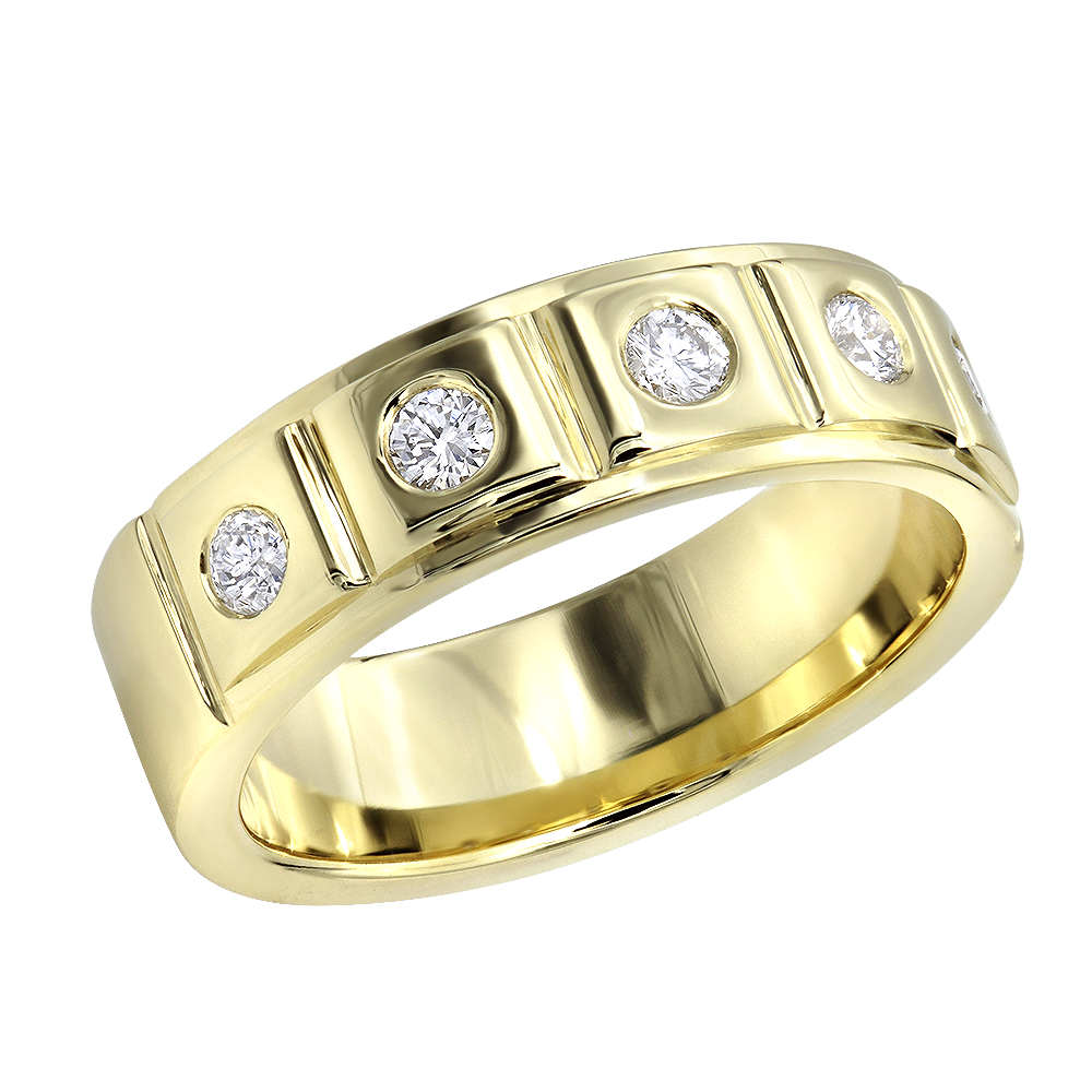 This is a photo of 440K Gold 440 Diamond Wedding Band for Men 40.40ct Comfort Fit Five Stone