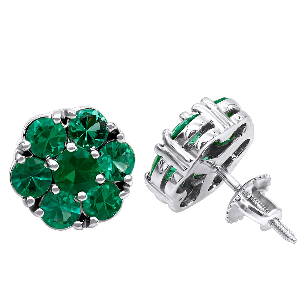 14K Gold Cluster Emerald Stud Earrings 4ct White Image