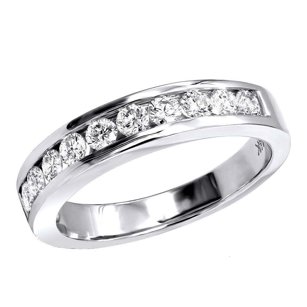 14K Gold Channel Set Diamond Engagement Ring Band 0.50ct