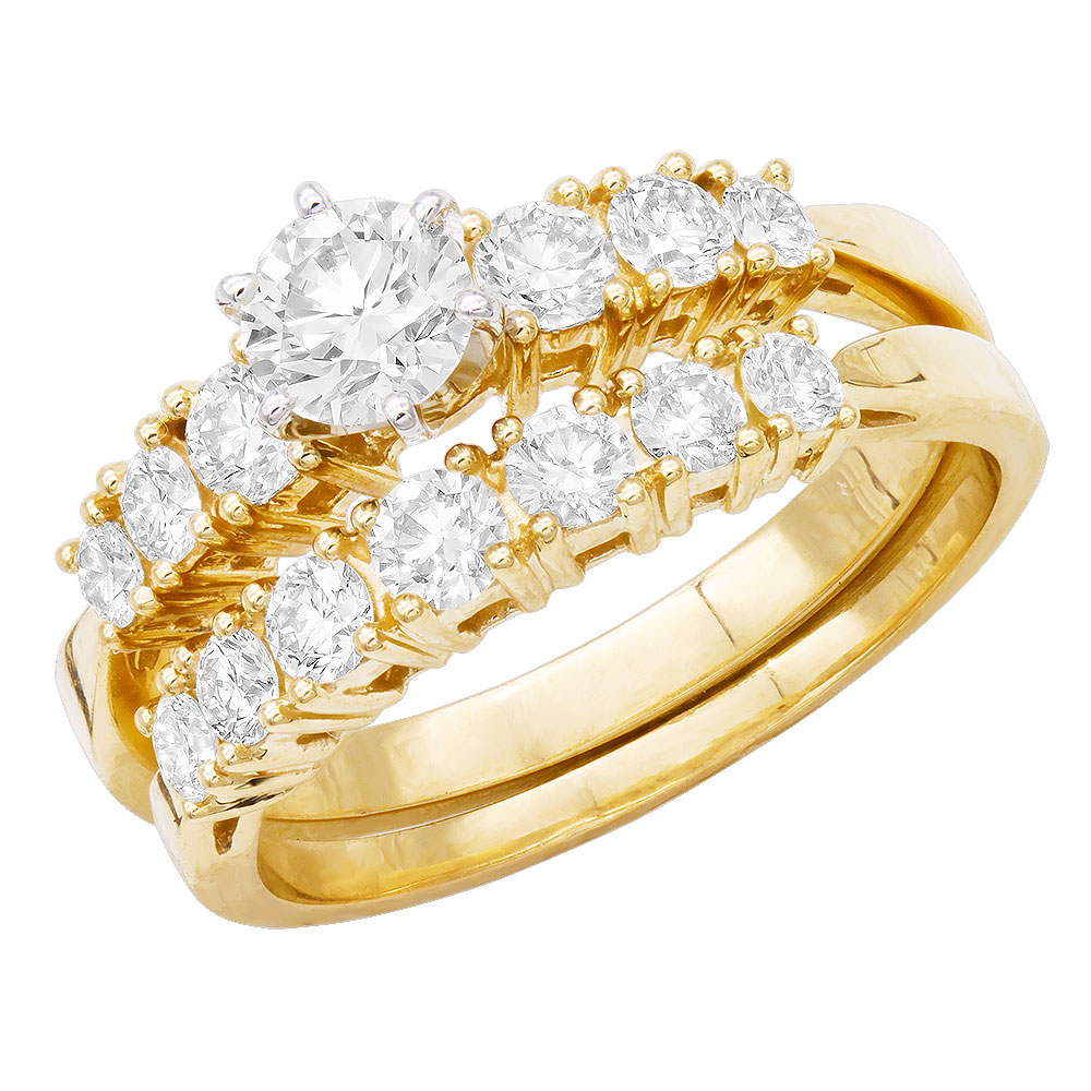 14K Gold Designer Diamond Engagement Ring Set 1.81ct Main Image