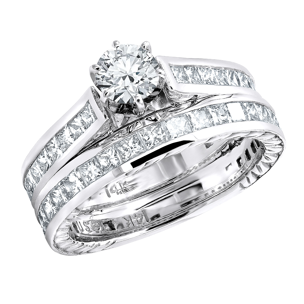 14K Gold Diamond Designer Engagement Ring Set 3.45ct Main Image