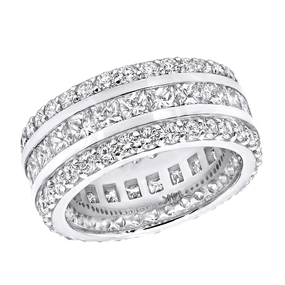 14K Gold Round and Princess Cut Diamond Eternity Ring 10mm Wide 5.68ct White Image