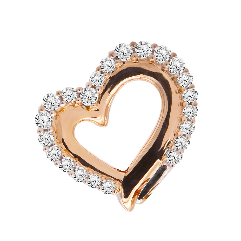 14K Gold Diamond Heart Pendant Round Diamonds 0.40ct Main Image