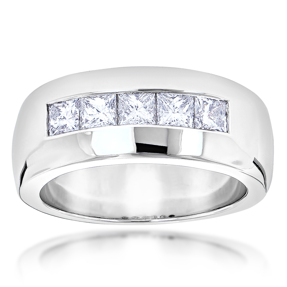 five stone 14k gold diamond mens wedding ring 15ct - Mens Diamond Wedding Rings