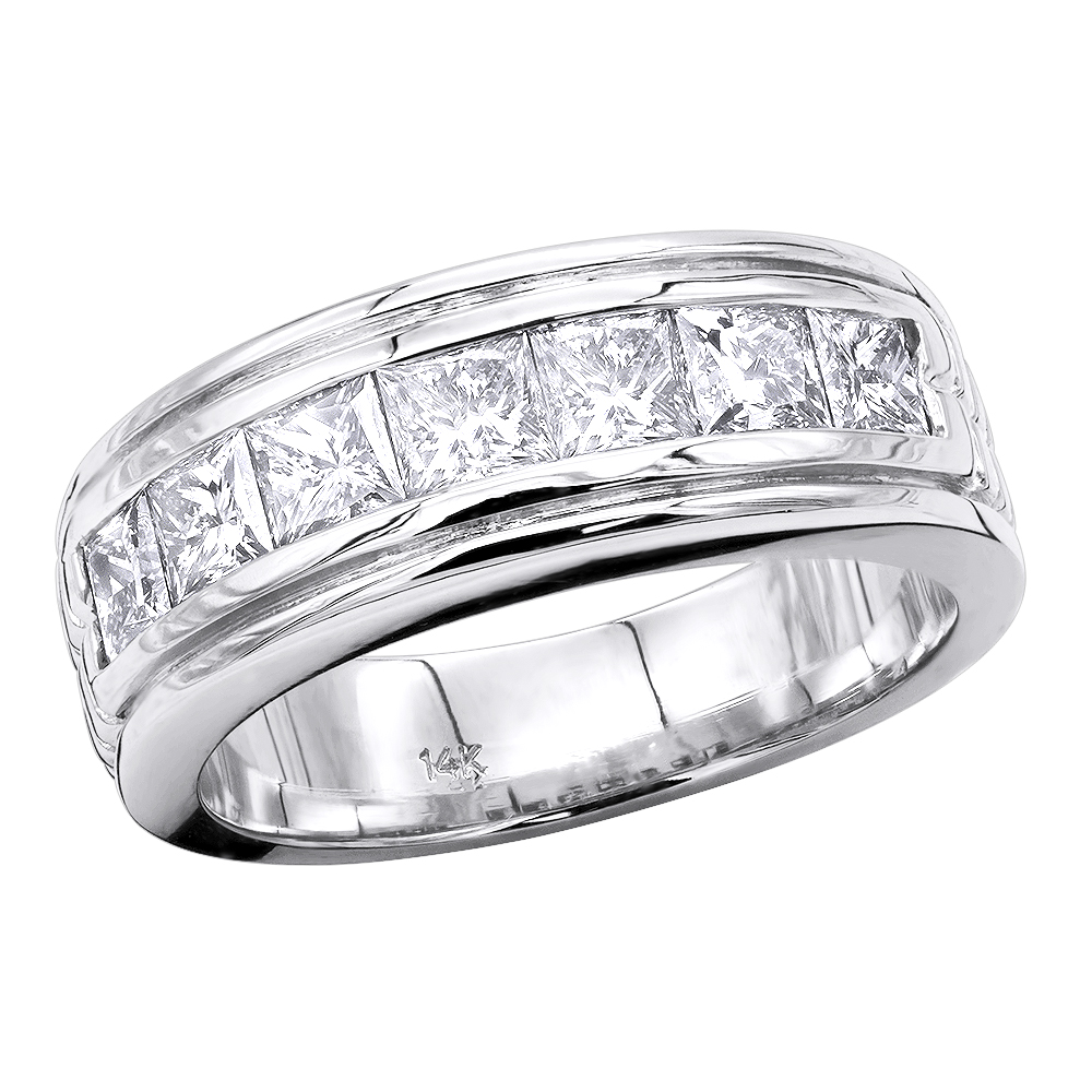 14K Gold Diamond Men's Wedding Ring 2.10ct Main Image