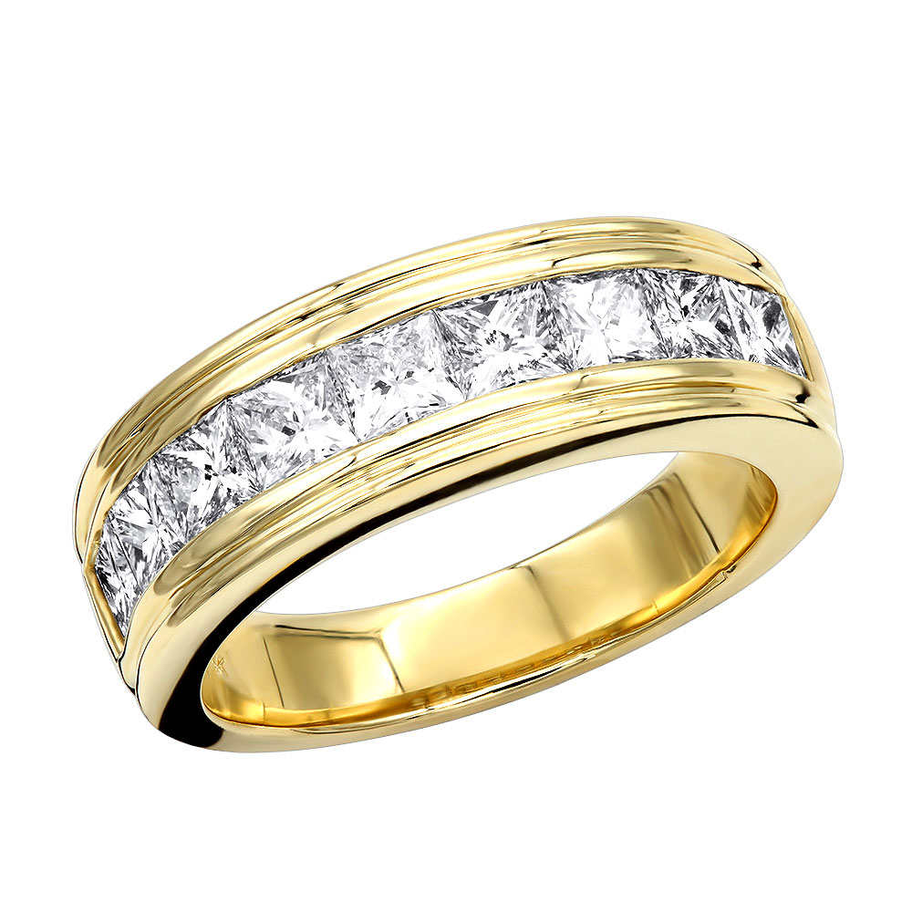 14K Gold Diamond Men's Wedding Ring 2.43ct Yellow Image