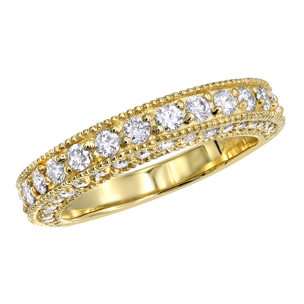 Luxurman Womens Wedding Rings 14K Gold Diamond Unique Engagement Band 1.4ct Yellow Image