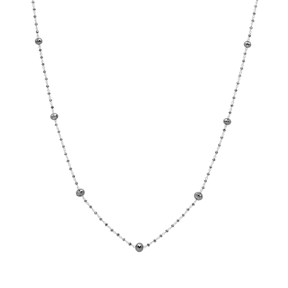 14K Gold Faceted Black Diamond Bead Necklace Chain 25.25ct White Image