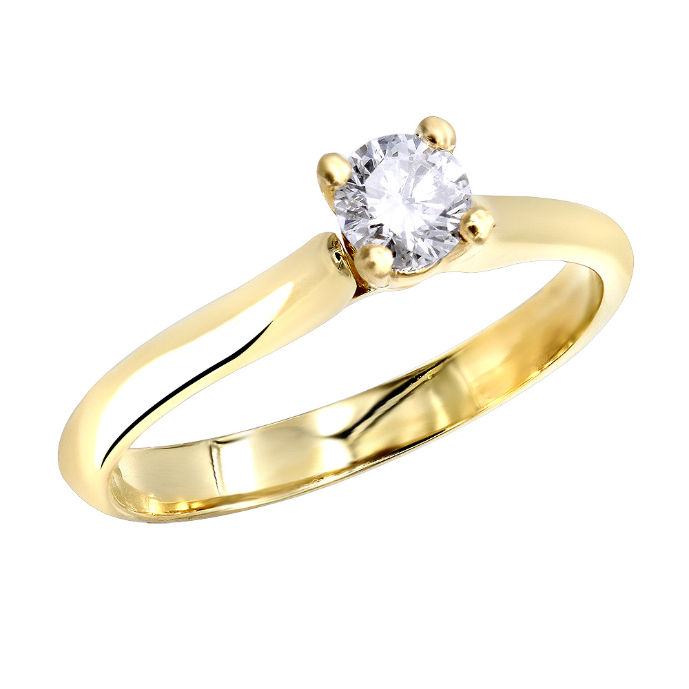 14K Gold Four-Prong Solitaire Engagement Ring 0.40ct Main Image