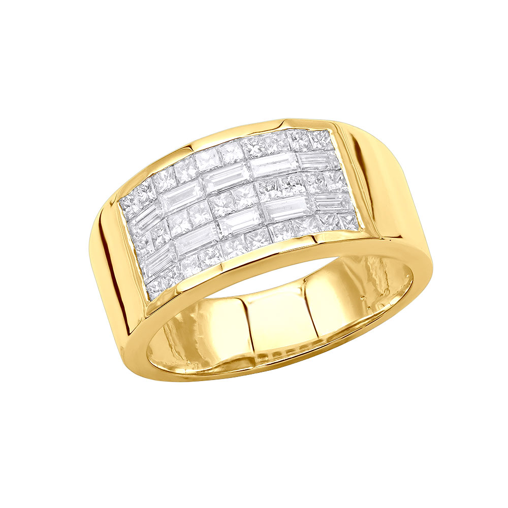 Unique Wedding Bands 14K Gold Mens Diamond Pinky Ring Invisible Set 2.95ct Yellow Image